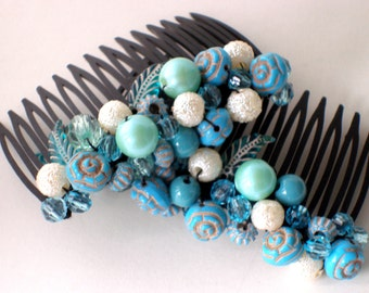 Beaded Hair Combs, Sky Blue and Gold, Ball and Leaf Beads, Hair Accessories, Ocean Colors for Your Hair, for Curly Hair