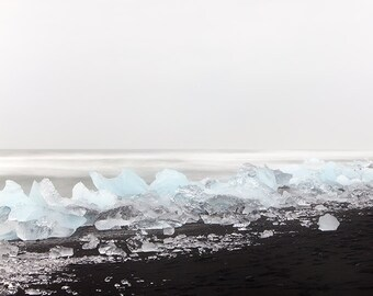 """Iceland Winter Landscape Photography, Ocean Art Print, Blue Ice, Nature Photography, Jokulsarlon Black Beach, """"Drifting In And Out"""""""