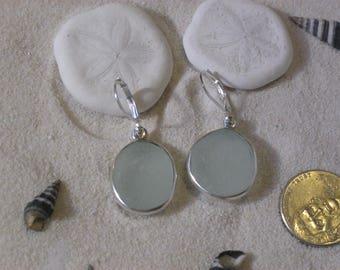 White Lake Erie Beach Glass Earrings in Sterling Silver
