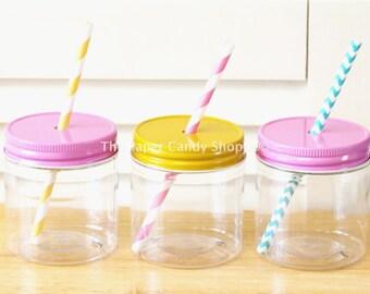 Plastic Mason Jars, 10 8oz Plastic Mason Jars, Straw Lids, Wedding, Pink Lemonade Birthday Party, Baby Shower Favors, Kids Table, Party Cups