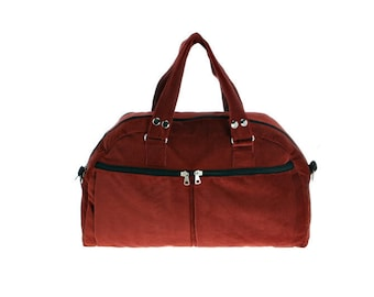 Red Corduroy, backpack ,padded laptop bag, Overnight Bag - Neo