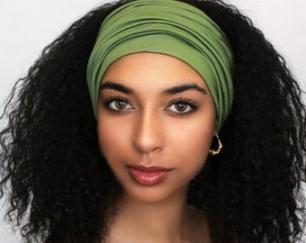 Olive Green Turban Head Band, Yoga headband, Wide Headband, Pretied Turban, Chemo Hat 299-31a