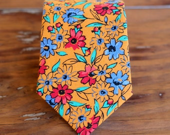 Boys Orange Floral Necktie, boy's red blue flowers cotton neck tie, for infant toddler child preteen boy, ring bearer wedding necktie, gift