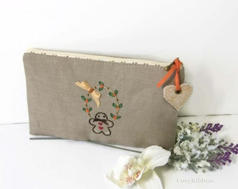 Make Up Case , Gingerbread Cosmetic Case, Linen Case , Embroidered Linen Pencil Case, Storage Accessory  , Chic Cottage Zipped Case
