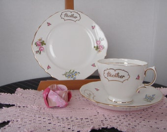 Bone China Mother's Day Cup, Saucer and Plate