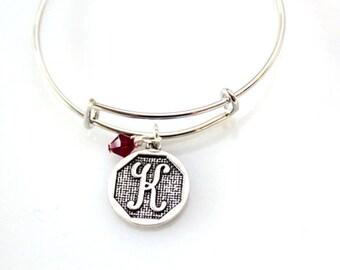 Bracelets for women - Initial Birthstone Bracelet -  Silver -  Initial Bracelet  - adjustable bangle