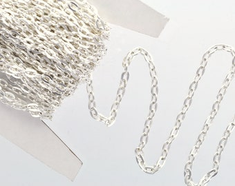 40 meters (130 feet) of SILVER PLATED FLAT Link Chain, unsoldered links are 5 x 3.5mm, bulk chain on spool, fch0213b