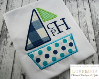 Custom Boys Sailboat with Monogram Shirt ~  Embroidered, Monogrammed, Applique