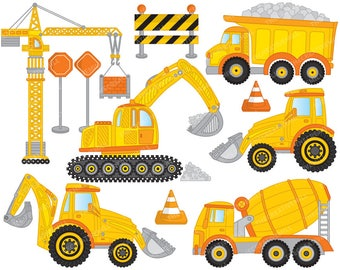 Construction Clipart - Vector Construction Clipart, Crane Clipart, Truck Clipart, Digger Clipart, Construction Clip Art