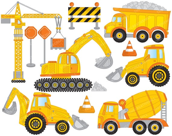 construction clipart vector construction clipart crane rh etsy com construction clip art pictures construction clip art free images