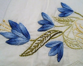 Hand Embroidered Blue Flower Floral Cotton Muslin Pillowcase, Unfinished, c. 1960