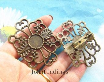 5pc 51.5x40mm antiqued bronzecabochon/cameo(12mm)filigree flower base square setting brooch pin pendants