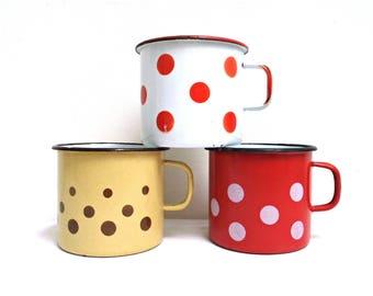 Brown polka dot mug | Etsy