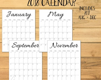 2018 Monthly Calendar, 2017 Calendar, 2018 Printable Calendar, Simple Calendar, 2017 2018 Printable Desk Calendar, Simple Wall Calendar