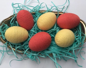 Decorative Easter Eggs; Yarn Easter Eggs; Orange and Yellow Easter Eggs; Set of Six Yarn Eggs