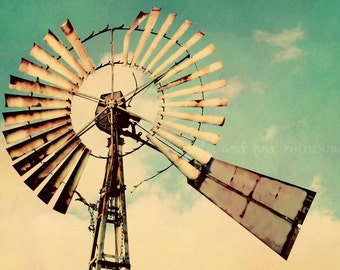 Vintage Windmill Photo, Farmhouse Photography, Aqua Turquoise Fixer Upper Style, Rustic Country Livingroom Home Decor Wall Art