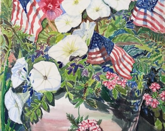 Red, White Petunias and Blue