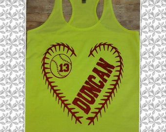 Softball Tank, Baseball Tank Personalized with Namer and Number in Heart Threads