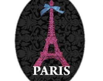 cabochon 18x25mm, eiffel tower on black background, Paris
