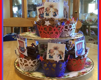 PATRIOTIC CUPCAKE WRAPPERS-Red, White and Blue w/Stars. Accent your Memorial and 4th tables with these decorative wrappers. Set of 18.