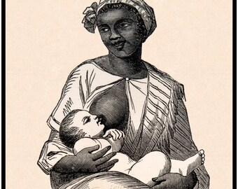 Civil War print - Slavery, Emancipation - Black wet nurse