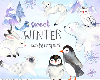 Watercolor Winter Animals Clipart   Winter Watercolors Holiday Clip Art -  Polar Bear, Penguins, Snowy Owl - Mountain and Tree - Digital PNG