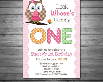 Owl Birthday Invitations, Pink, Polka Dots, Photo, Owl
