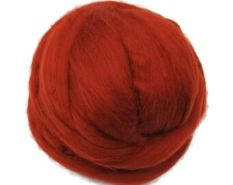 Merino / Silk Roving, Rust - Neutral Color Mulberry Wool Silk Blend Fiber for Spinning & Felting