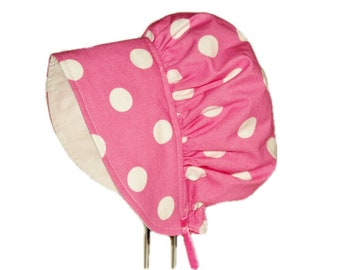 Baby Bonnet, Baby Sun Hat, Pink Polka Dot Baby Sun Bonnet, Toddler Hat, Newborn Bonnet, Cotton Hat, Baby Girl Bonnet, Summer Hat, Infant Hat