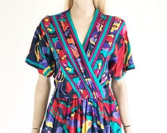 Vintage 80s Abstract Print Dolman Sleeve Dress
