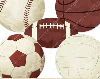 SPORTS VINTAGE, Digital Embellishments Clip Art Overlay | textured basketball football baseball softball soccer volleyball balls