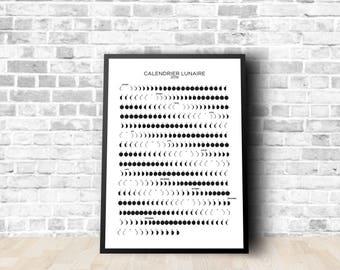 Moon poster / poster calendar Lunar 2018