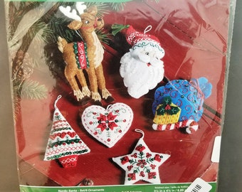 Bucilla Nordic Santa set, 6 ornaments, 86666, reindeer, santa, gift bag, heart, Christmas, Tree, Candy cane,  felt ornament, 2015, Plaid