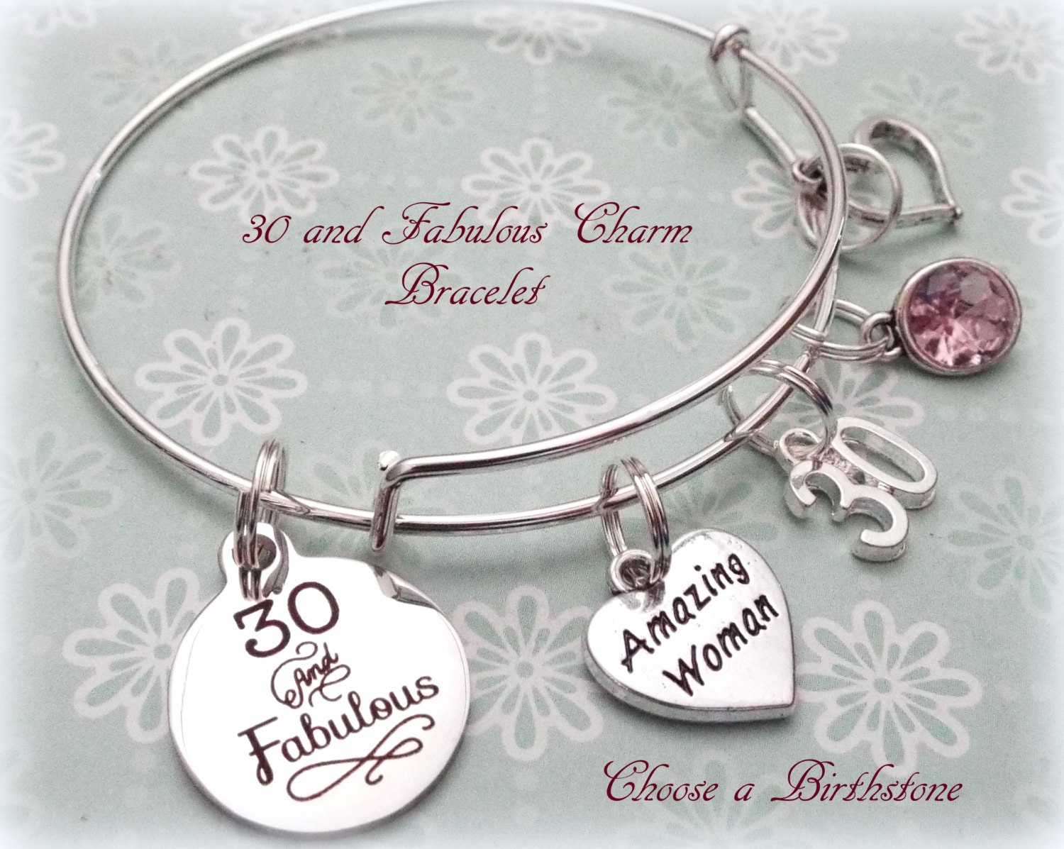30th birthday gift 30 and fabulous charm bracelet birthday zoom negle Images