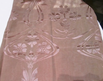 Antique French Art Nouveau Fabric 19th Century Silk Damask Pink
