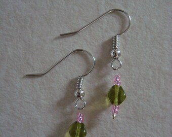 Earrings little girl pink and green