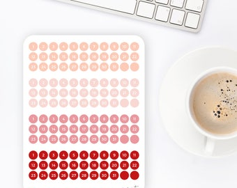 F52 | Mini Date Dots | Number Stickers | Calendar Stickers | Planner Stickers | Bullet Journal Stickers