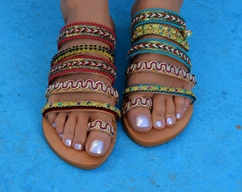Handcrafted leather sandals, Boho sandals, Greek sandals, Boho chic sandals, Strappy sandals, Ethnic Leather Sandals ''Marrakesh''