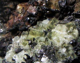 Yellow fluorite and quartz siderite