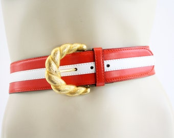 """Vintage Red and White Stripe Leather ESCADA Woman's 2"""" Wide Leather Belt with Gold Accent"""