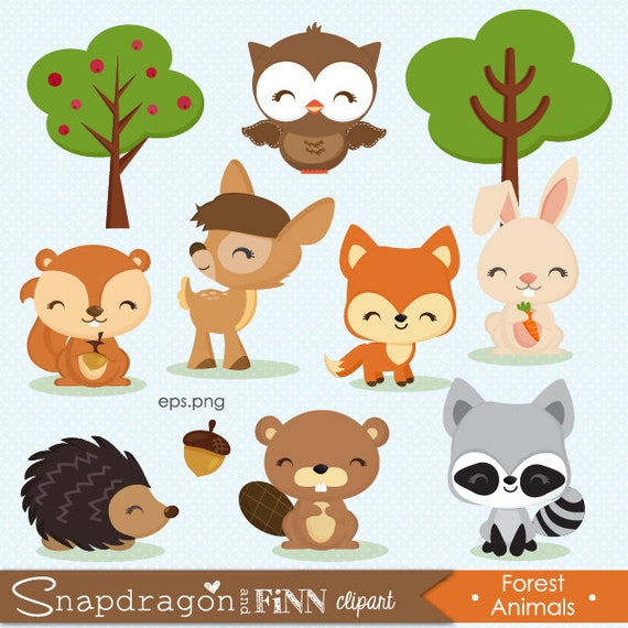 woodland clipart forest animal clipart baby animal clipart rh etsy com forest animals clipart free jungle animals clipart