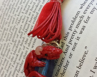 Red Dragon On Blue Acrylic Bead Treasure with Swarovski Crystals Pendant Necklace - Hand Sculpted OOAK