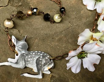 Whimsical woodland deer pendant necklace, botanical, laser cut, just lovely