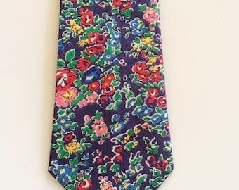 SHIPS IMMEDIATELY, Blue Men's Necktie, Liberty of London tie, floral tie, blue and red necktie, blue men's tie, fall tie