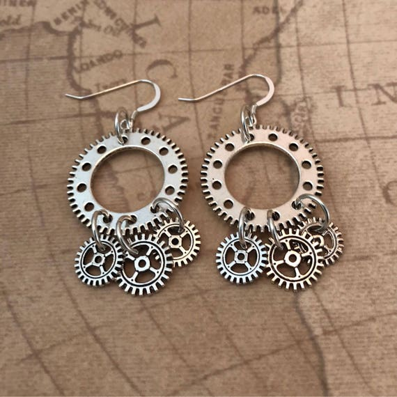 Antique Silver Steampunk Gears Dangle Earrings
