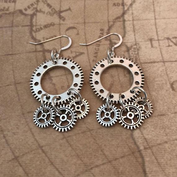 Antique Silver Steampunk Gears Dangle Earrings
