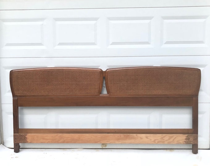 King Size Mid-Century Headboard with Cane Front