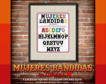 PDF Counted Cross Stitch Pattern Mujeres Bandidas in Adidas Stitched Alphabet Font 16 stitches high Handmade Supply Maker Decor Crafter Gift