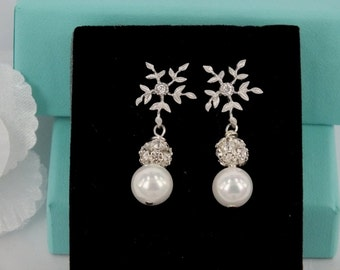 Isadore - Shell Pearl and Rhinestone Earrings