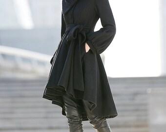 Pea coat, wool coat, winter coat, asymmetrical coat, black jacket, womens coats, flare coat, lantern sleeves coat, tie belt coat C192